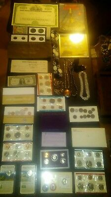 BIG coin LOT collection MINT SETS PROOF SILVER VINTAGE BANK BAG = NO JUNK DRAWER