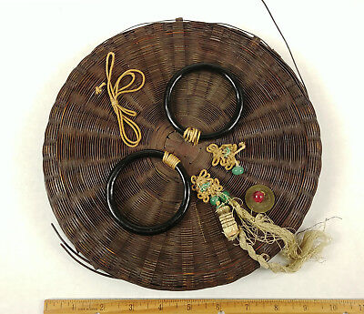 ANTIQUE Chinese Sewing Basket Betty-Lou Collection Coins Beads Tassels csb 124