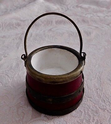 ANTIQUE MINIATURE FORGED METAL & WOOD BERRY BUCKET RED w/PORCELAIN INSERT