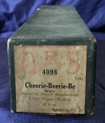 RP2727 Vtg Q.R.S. QRS Word Roll Player Piano Music Roll 4098 Cheerie Beerie Bee