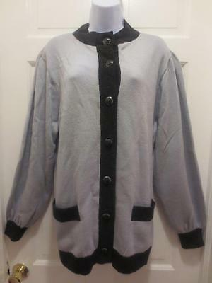 ST. JOHN By Marie Gray LIGHT BLUE & GRAY Santana Knit BLAZER Jacket L Large XL