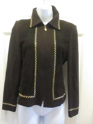 ST. JOHN By Marie Gray SUEDE FRONT Paillettes Santana Knit BLAZER Jacket 4 Small