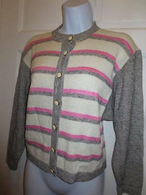ST. JOHN By MARIE GRAY Pink & Gray STRIPED Santana Knit JACKET Blazer 14 L Large