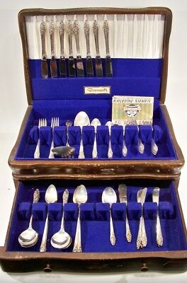 Community Oneida Evening Star Silver Plate 1950 w/Storage Case~8 Place Settings