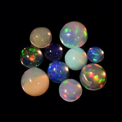 10pcs Lot 2.08ct Round Cabochon Natural Play-of-Color Crystal Opal