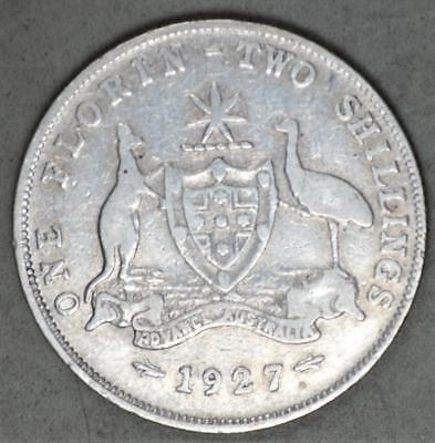 Australia 1927 Florin Sterling Silver Coin