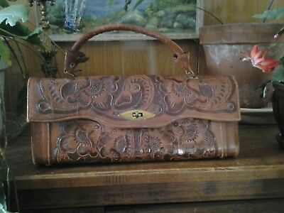 Vintage 1950's FLORES BAGS Leather Tooled PURSE MEXICO