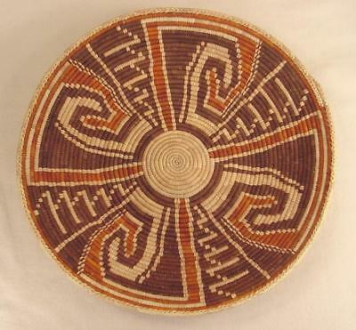 Native American Indian Hand Woven Basket Bowl Circle Domed Bottom