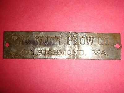Vintage Plow Name Plate From The Watt Plow Company in Richmond VA