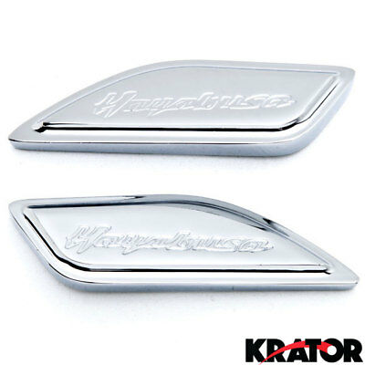 GSXR GSX1300R Hayabusa Busa 1999-2014 Chrome Side Tank Pad Cover Caps Engraved