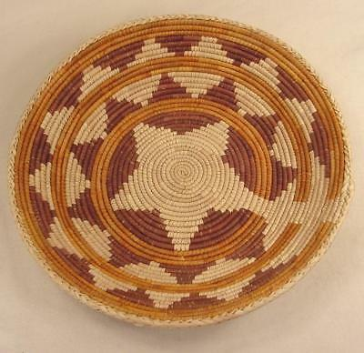 Native American Indian Hand Woven Basket Bowl Star Domed Bottom