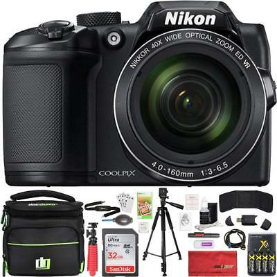 NEW Nikon COOLPIX B500 BLACK 16MP 40x Optical Zoom Digital Camera 32GB Bundle