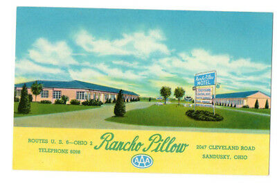 Rancho Pillow, US 6, 2047 Cleveland Road, Sandusky, OH Old Postcard