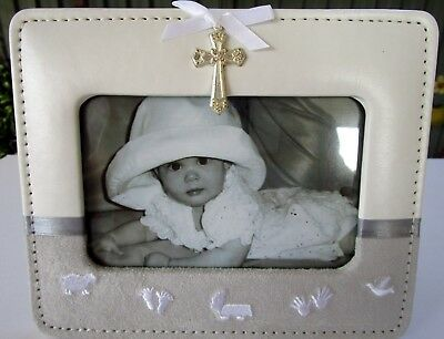 Baby Keepsake Photo Frame With Silver Cross, Embroidery, Ribbons & Velvet Trims!