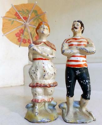 "Antique Vtg 6"" Cast Metal Toy Man & Woman Beachgoers in c1910s Bathing Suits"