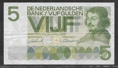 NETHERLANDS 5 gulden 26-4-1966 P90a VF van den Vondel portrait / playhouse