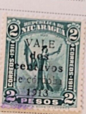 Nicaragua stamps   2 pesos  OVP Vale  2 centavo    1913  LH