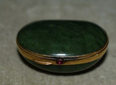 Rare Antique German Or French 18Kt Gold - Green Jasper Agate Snuff/pill Box
