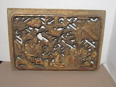 Antique Old  Oriental Asian Carved Panel Scene red & gold