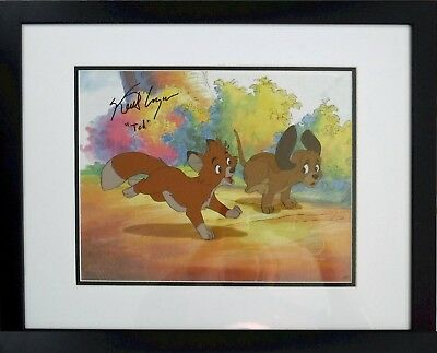 Fox Hound Disney Cel Sericel Deluxed Background Hand Signed Voice Tod 1981