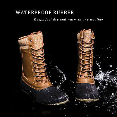 Women's Mid Calf Lace Up Rain Snow Boots Waterproof Rubber Skimmers Duck Boots