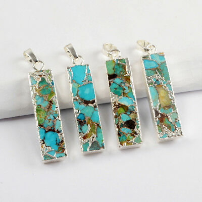 1Pcs Rectangle Blue Copper Turquoise Bar Pendant Bead Gold Silver Plated HG1649
