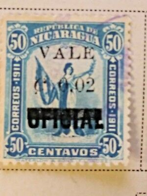 Nicaragua stamps  50 centavos  OVP  oficial/Vale  2 ct   1914  LH