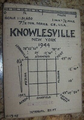 1944 Vintage Knowlesville Ny Canvas Backed Map Ken Warner Albion