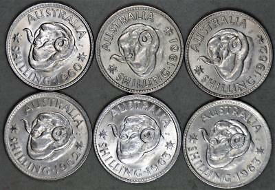 Australia Shilling Lot of 6 Silver Coins