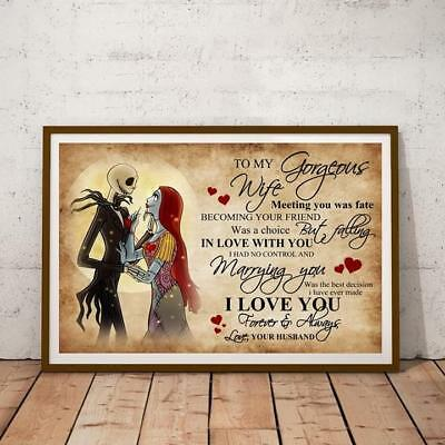 Jack & Sally To My Gorgeous Wife I Love You Always Poster 11-36 Inches No Frame