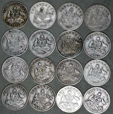 Australia 3 Pence Lot of 16 Silver Coins King George V and King Edward VII