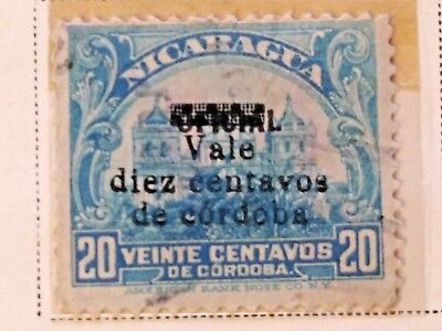 Nicaragua stamps  20 centavos   OVP  oficial/Vale  10 ct   1919-21  LH