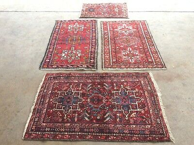 antico-swiss 4 Beautiful Antique indoKARAJA rugs 2`3x4`1and2`4x4`and2`6x3`9 ft