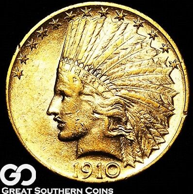 1910 Gold Eagle, $10 Gold Indian, Nice Mint Luster ** Free Shipping!