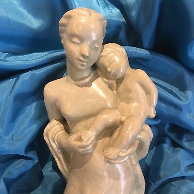 Keramik Mutter & Kind Madonna Jesus Skulptur holy mother Marke H. RISS