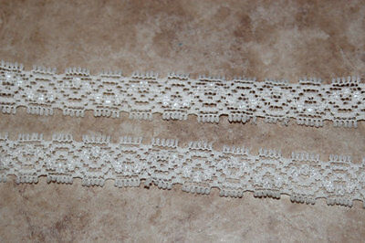 "5 yards off WHITE Cream Ivory Stretch Lace Baby sewing soft Headband 1/2"" #A4"