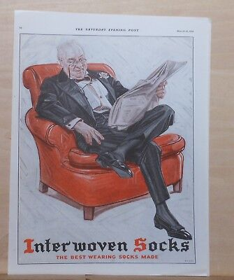 1921  magazine ad for Interwoven Socks - Wealthy man in tux relaxes with paper