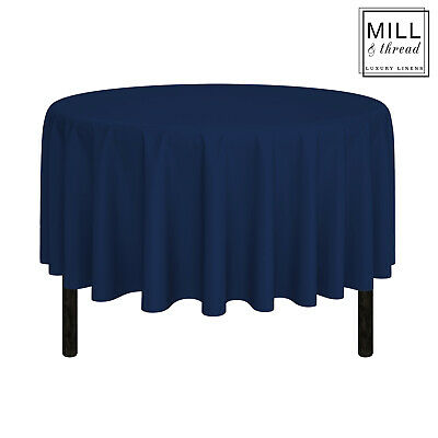 """90"""" Round Wedding Banquet Polyester Fabric Tablecloth - Navy Blue"""