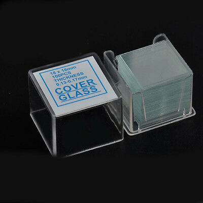 Box of 100 Prepared 18mm x 18mm Square Cover Glass for Microscope Slides Lab Set