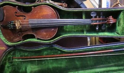 antique Violin Viola in case marked Chicago 1901 Henry ? with Metro Bow