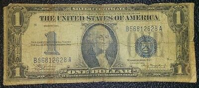 1934 Blue Seal $1 Dollar Bill Old Us Note Legal Tender Paper Money Funny Back