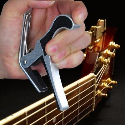 Quick Change Tune Clamp Key Capo For Acoustic Electric Classical Guitar Silver