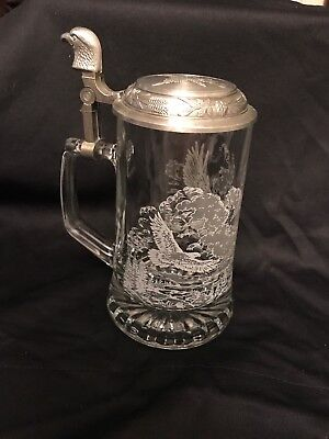 Vintage Domex Bald Eagle Glass Beer Stein with Pewter Lid Made In Germany