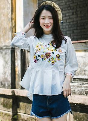 Womens Embroidery Floral Stand Collar Cotton Doll Shirt Fashion Blouses Tops H25