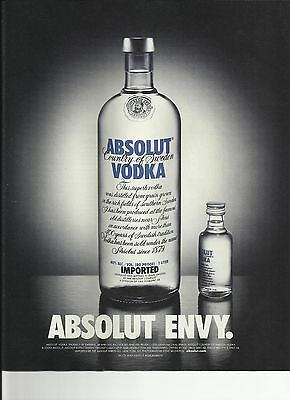 ABSOLUT ENVY. - 2002 Absolut Vodka print ad