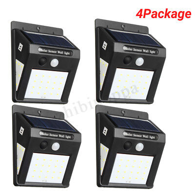 4X 30LED Solar Power 3Side PIR Motion Sensor Security Lights Outdoor Garden Lamp