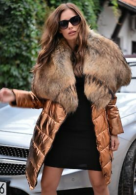 New 2019 Down Coat Fox Fur Class- Sable Chinchilla Mink Bomber Parka Gold Jacket
