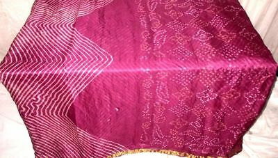 Magenta Pure Silk 4 yard Vintage Sari Saree Pattern Patterns GIFT Shari #9EJAY