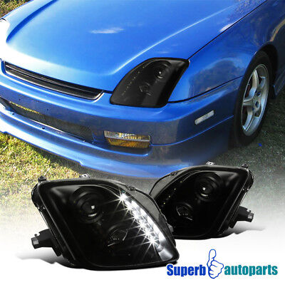For 1997-2001 Honda Prelude Black Headlights Clear Head Lamps Replacement L+H Auto Parts and Vehicles