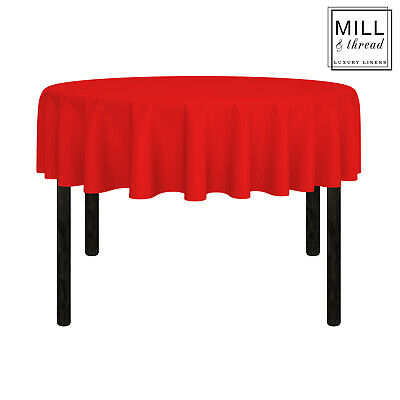 """70"""" Round Wedding Banquet Polyester Fabric Tablecloth - Red"""